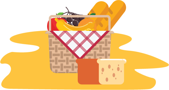 Colourful vector image of a picnic basket