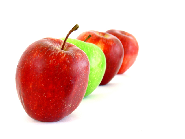 a row of red and green apples