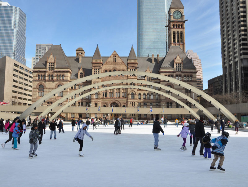 A picture of some ice skaters in Toronto