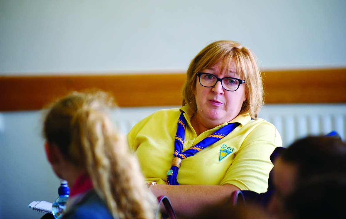 Current chief commissioner Emily Mccann sitting and talking