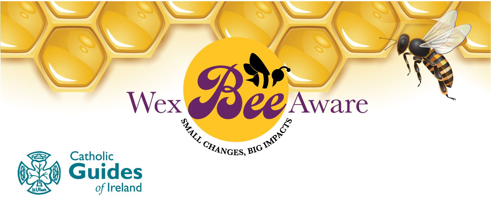 Wex Bee Aware logo over an image of honeycomb