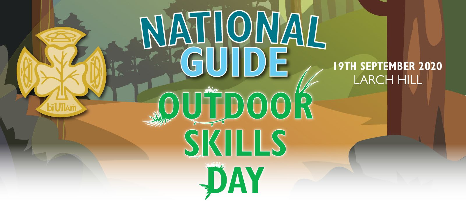 Banner advertising the new date for the Guide Outdoor Skills Day