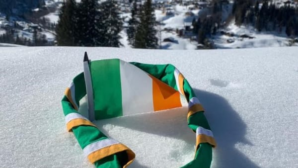 International neckerchief in some snow on a mountain