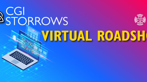 Colourful banner advertising the CGI Storrows Virtual Roadshow event