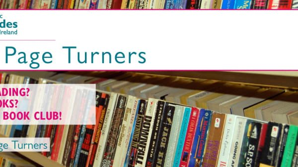 An image of some books on the banner for the CGI Page Turners Group