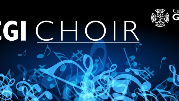 A Black banner with blue music notes and the title CGI Choir written in white