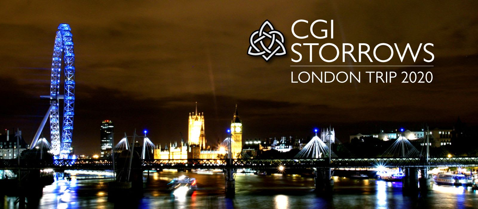 Picture of London at night with the Storrows Logo on it